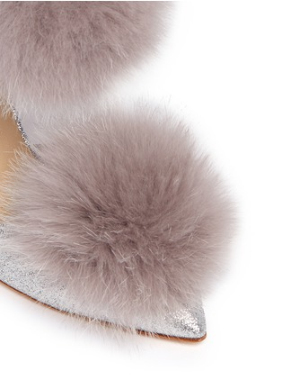 Detail View - Click To Enlarge - JIMMY CHOO - 'Dolly' fox fur pompom glitter d'Orsay pumps