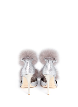 Back View - Click To Enlarge - JIMMY CHOO - 'Dolly' fox fur pompom glitter d'Orsay pumps