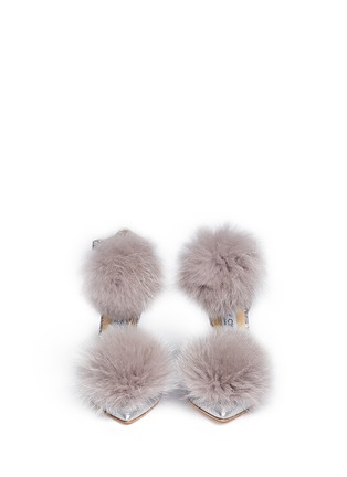 Front View - Click To Enlarge - JIMMY CHOO - 'Dolly' fox fur pompom glitter d'Orsay pumps