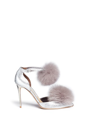 Main View - Click To Enlarge - JIMMY CHOO - 'Dolly' fox fur pompom glitter d'Orsay pumps