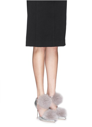 Figure View - Click To Enlarge - JIMMY CHOO - 'Dolly' fox fur pompom glitter d'Orsay pumps