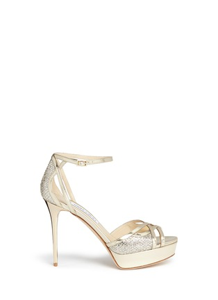 Main View - Click To Enlarge - Jimmy Choo - 'Laurita 115' metallic glitter mesh mirror leather sandals