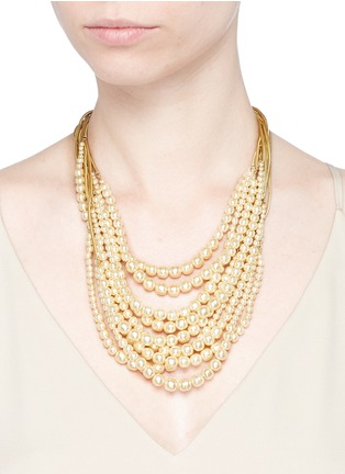 Figure View - Click To Enlarge - MIRIAM HASKELL - Multi strand glass pearl necklace