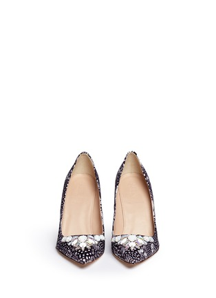 Front View - Click To Enlarge - J CREW SHOES - 'Elsie' jeweled feather-print pumps