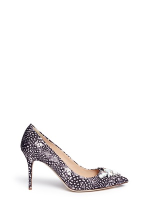 Main View - Click To Enlarge - J CREW SHOES - 'Elsie' jeweled feather-print pumps