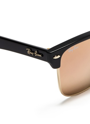 Detail View - Click To Enlarge - Ray-Ban - 'Clubmaster Oversized' matte plastic browline mirror sunglasses
