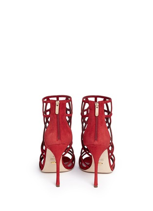 Back View - Click To Enlarge - SERGIO ROSSI - 'Puzzle' suede cutout cage sandals