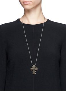 Aishwarya Mounted diamond cross pendant necklace
