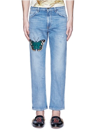 Detail View - Click To Enlarge - Gucci - Butterfly embroidery cropped cotton jeans