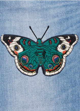 - Gucci - Butterfly embroidery cropped cotton jeans