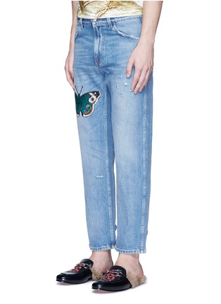 Front View - Click To Enlarge - Gucci - Butterfly embroidery cropped cotton jeans