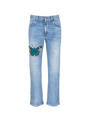 Main View - Click To Enlarge - Gucci - Butterfly embroidery cropped cotton jeans