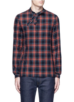 Main View - Click To Enlarge - Gucci - Neck sash tartan plaid flannel shirt