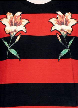 Detail View - Click To Enlarge - Gucci - Floral embroidery rugby stripe T-shirt