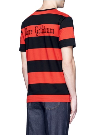 Back View - Click To Enlarge - Gucci - Floral embroidery rugby stripe T-shirt
