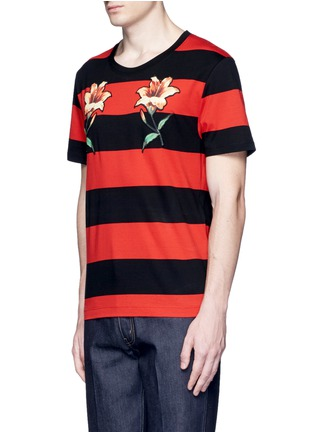Front View - Click To Enlarge - Gucci - Floral embroidery rugby stripe T-shirt