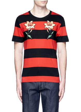 Main View - Click To Enlarge - Gucci - Floral embroidery rugby stripe T-shirt