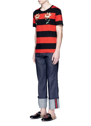 Figure View - Click To Enlarge - Gucci - Floral embroidery rugby stripe T-shirt