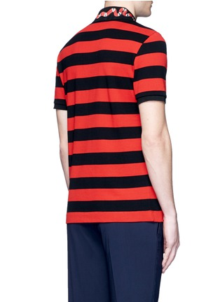 Back View - Click To Enlarge - Gucci - Snake and bee embroidery stripe polo shirt