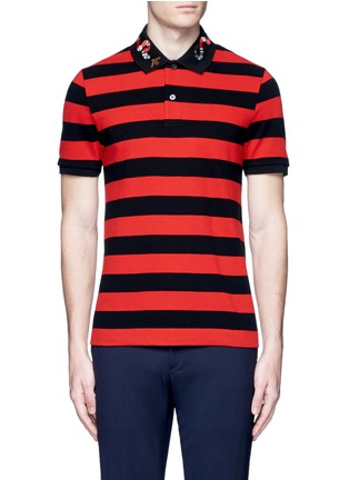 Main View - Click To Enlarge - Gucci - Snake and bee embroidery stripe polo shirt