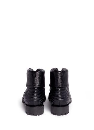 Back View - Click To Enlarge - Alexander McQueen - Skull zip grainy leather boots