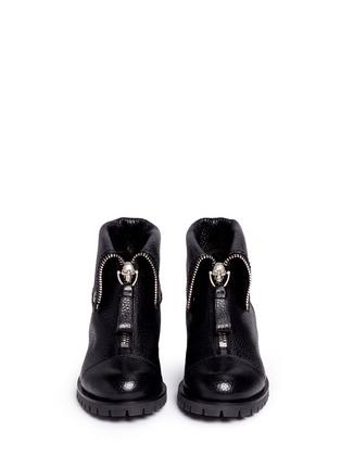 Front View - Click To Enlarge - Alexander McQueen - Skull zip grainy leather boots