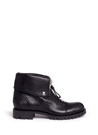 Main View - Click To Enlarge - Alexander McQueen - Skull zip grainy leather boots