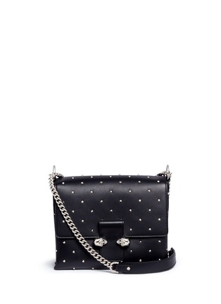 Main View - Click To Enlarge - ALEXANDER MCQUEEN - Twin skull stud leather chain satchel