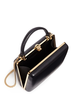 Detail View - Click To Enlarge - ALEXANDER MCQUEEN - Skull leather handle box clutch