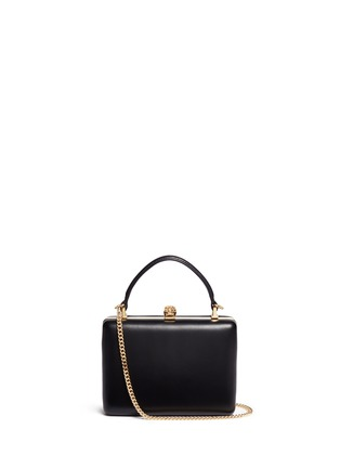 Main View - Click To Enlarge - Alexander McQueen - Skull leather handle box clutch