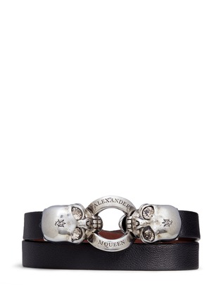 Main View - Click To Enlarge - ALEXANDER MCQUEEN - Horsebit twin skull double wrap leather bracelet