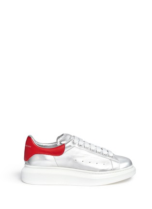 Main View - Click To Enlarge - Alexander McQueen - 'Larry' metallic leather sneakers
