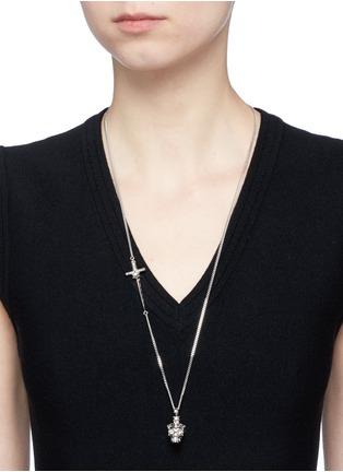 Figure View - Click To Enlarge - Alexander McQueen - Star dust Swarovski crystal skull pendant necklace