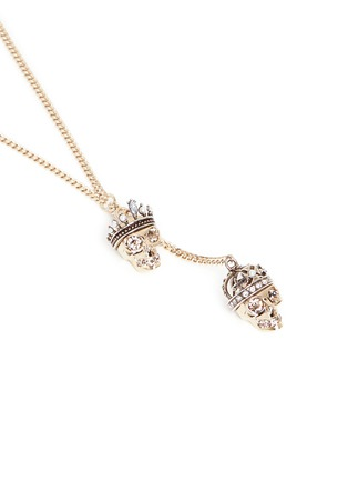 Detail View - Click To Enlarge - Alexander McQueen - 'Kings & Queens' double skull Swarovski crystal necklace