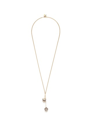 Main View - Click To Enlarge - Alexander McQueen - 'Kings & Queens' double skull Swarovski crystal necklace