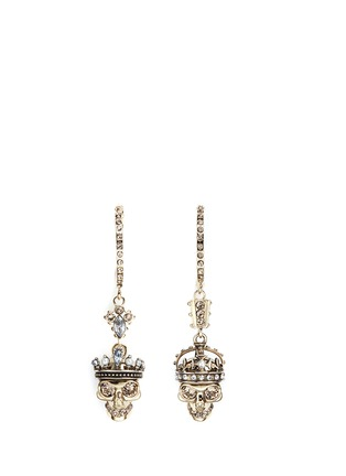 Main View - Click To Enlarge - Alexander McQueen - 'Kings & Queens' Swarovski crystal skull earrings