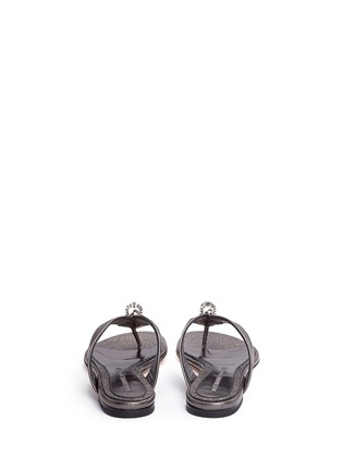 Back View - Click To Enlarge - Alexander McQueen - Crystal crown skull metallic leather flip flops