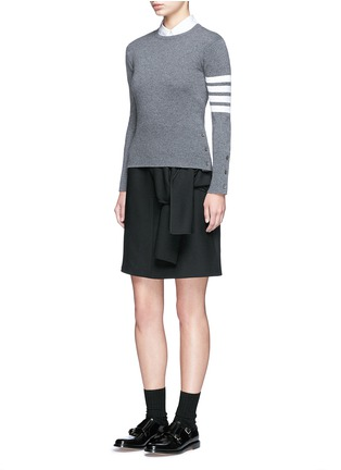 Figure View - Click To Enlarge - Thom Browne - Stripe sleeve cashmere sweater
