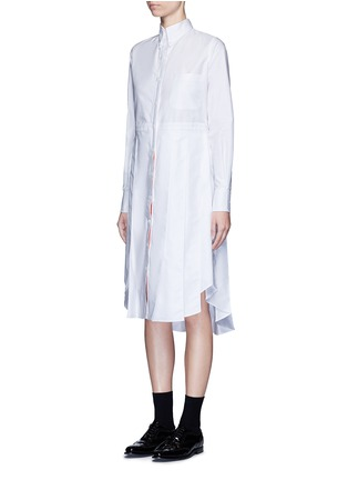 Front View - Click To Enlarge - THOM BROWNE - Classic pleated bottom cotton Oxford shirt dress