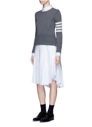 Figure View - Click To Enlarge - THOM BROWNE - Classic pleated bottom cotton Oxford shirt dress