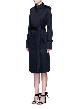 Front View - Click To Enlarge - Victoria Beckham - Gabardine drape fluid trench coat