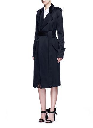 Figure View - Click To Enlarge - Victoria Beckham - Gabardine drape fluid trench coat