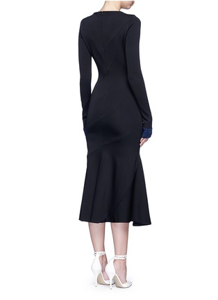 Back View - Click To Enlarge - Victoria Beckham - Mermaid hem contrast cuff knit dress
