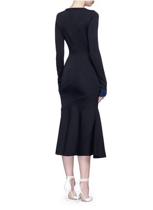 Back View - Click To Enlarge - VICTORIA BECKHAM - Mermaid hem contrast cuff knit dress