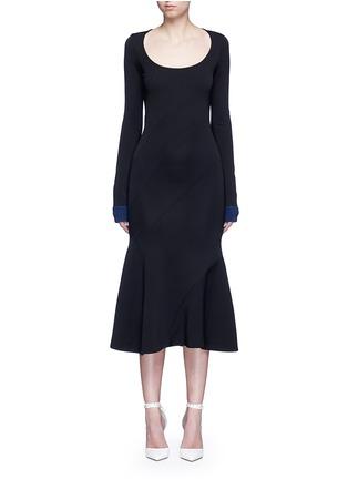 Main View - Click To Enlarge - VICTORIA BECKHAM - Mermaid hem contrast cuff knit dress
