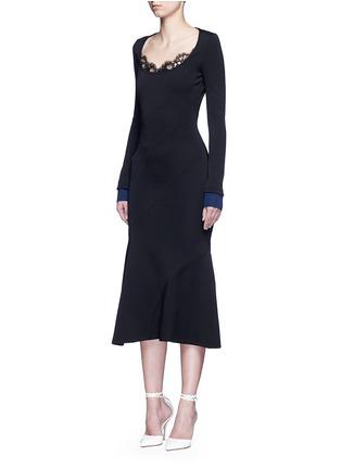 Figure View - Click To Enlarge - VICTORIA BECKHAM - Mermaid hem contrast cuff knit dress