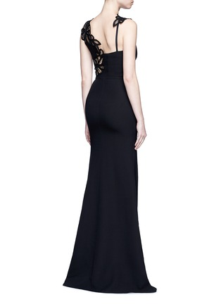 Back View - Click To Enlarge - Victoria Beckham - Guipure lace back double crepe gown