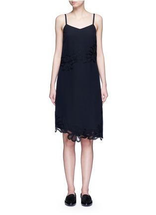 Main View - Click To Enlarge - Victoria Beckham - Floral lace silk crepe de Chine dress