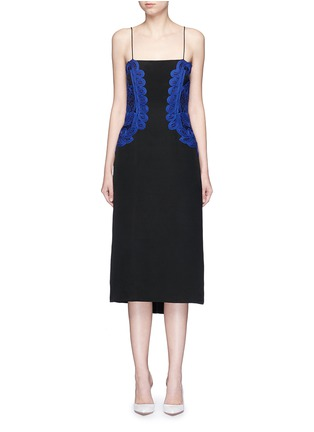 Main View - Click To Enlarge - Victoria Beckham - Guipure lace silk crepe kick midi dress