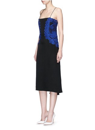Figure View - Click To Enlarge - Victoria Beckham - Guipure lace silk crepe kick midi dress